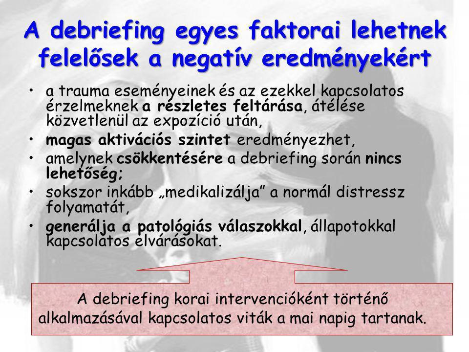 A debriefing egyes faktorai lehetnek felelősek a negatív eredményekért