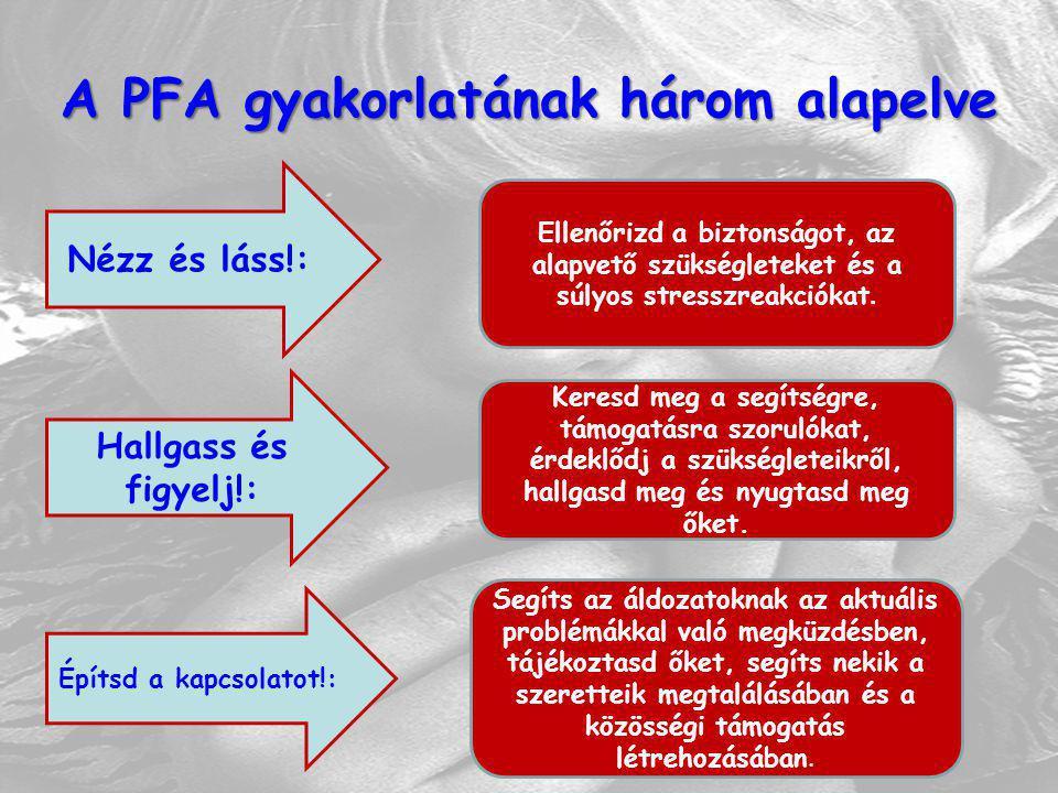 A PFA gyakorlatának három alapelve