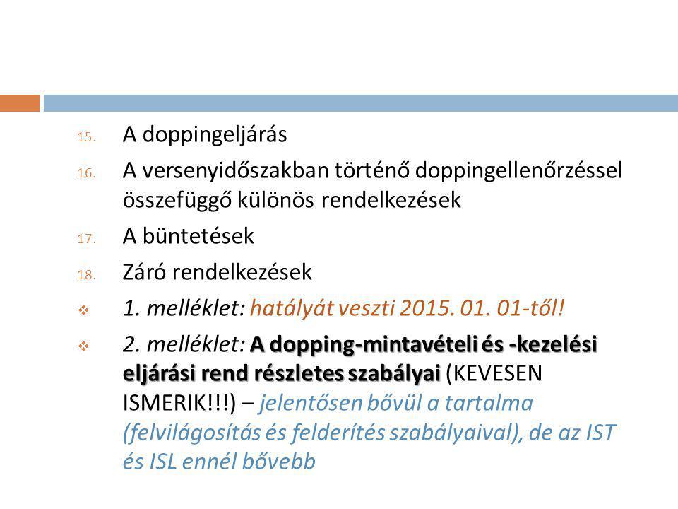 A doppingeljárás A versenyidőszakban történő doppingellenőrzéssel összefüggő különös rendelkezések.