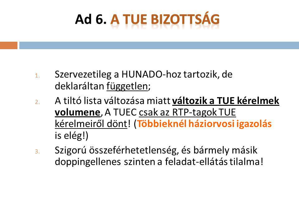 Ad 6. A TUE Bizottság Szervezetileg a HUNADO-hoz tartozik, de deklaráltan független;