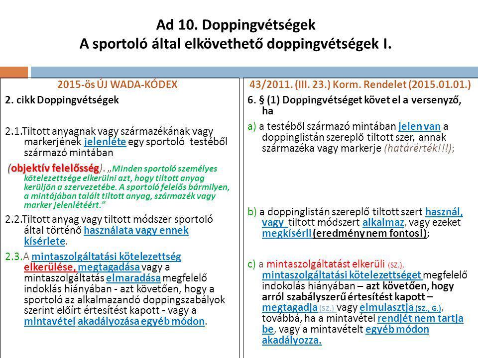 Ad 10. Doppingvétségek A sportoló által elkövethető doppingvétségek I.