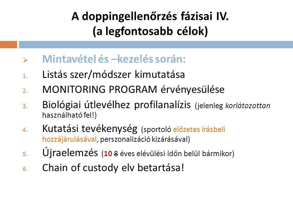 A doppingellenőrzés fázisai IV. (a legfontosabb célok)
