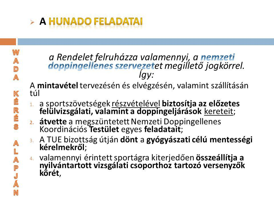 A HUNADO feladatai a Rendelet felruházza valamennyi, a nemzeti doppingellenes szervezetet megillető jogkörrel. Így: