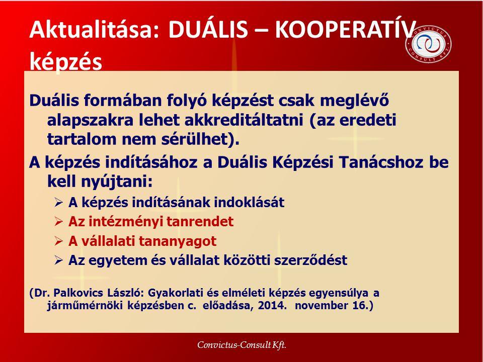 Aktualitása: DUÁLIS – KOOPERATÍV képzés