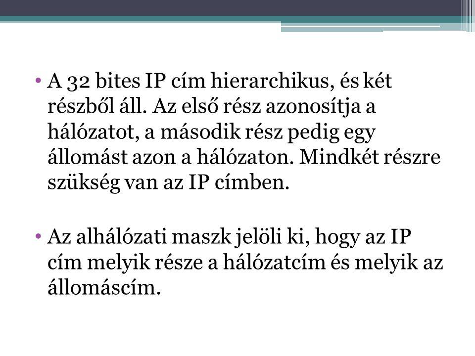 A 32 bites IP cím hierarchikus, és két részből áll