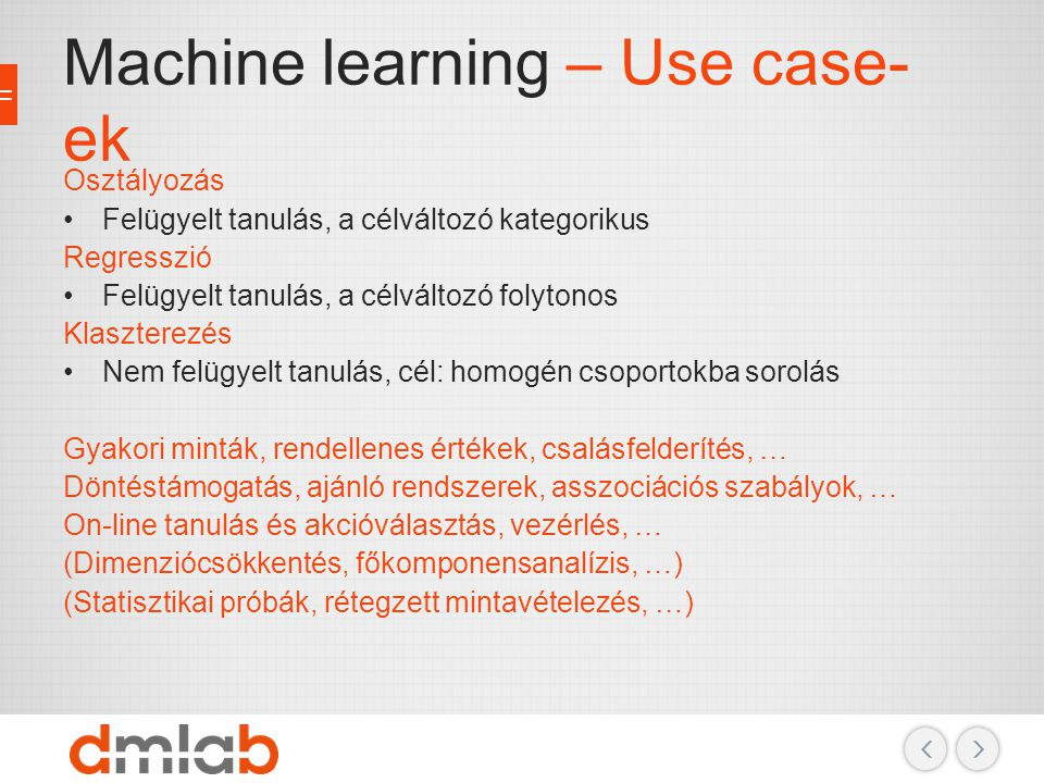Machine learning – Use case-ek