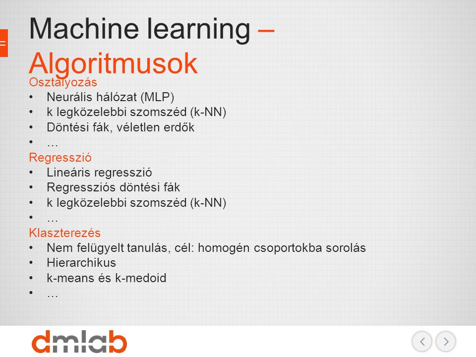 Machine learning – Algoritmusok
