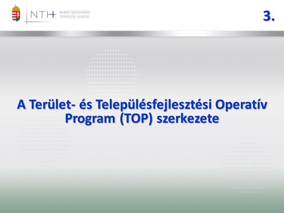 A Terület- és Településfejlesztési Operatív Program (TOP) szerkezete