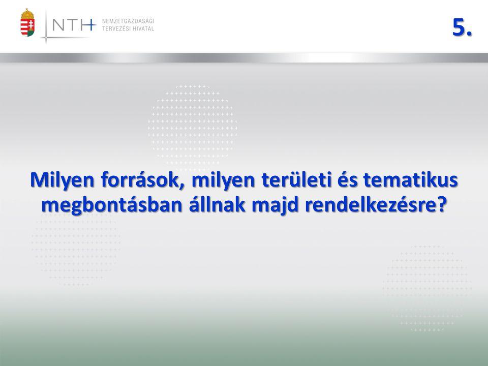 5. Milyen források, milyen területi és tematikus megbontásban állnak majd rendelkezésre
