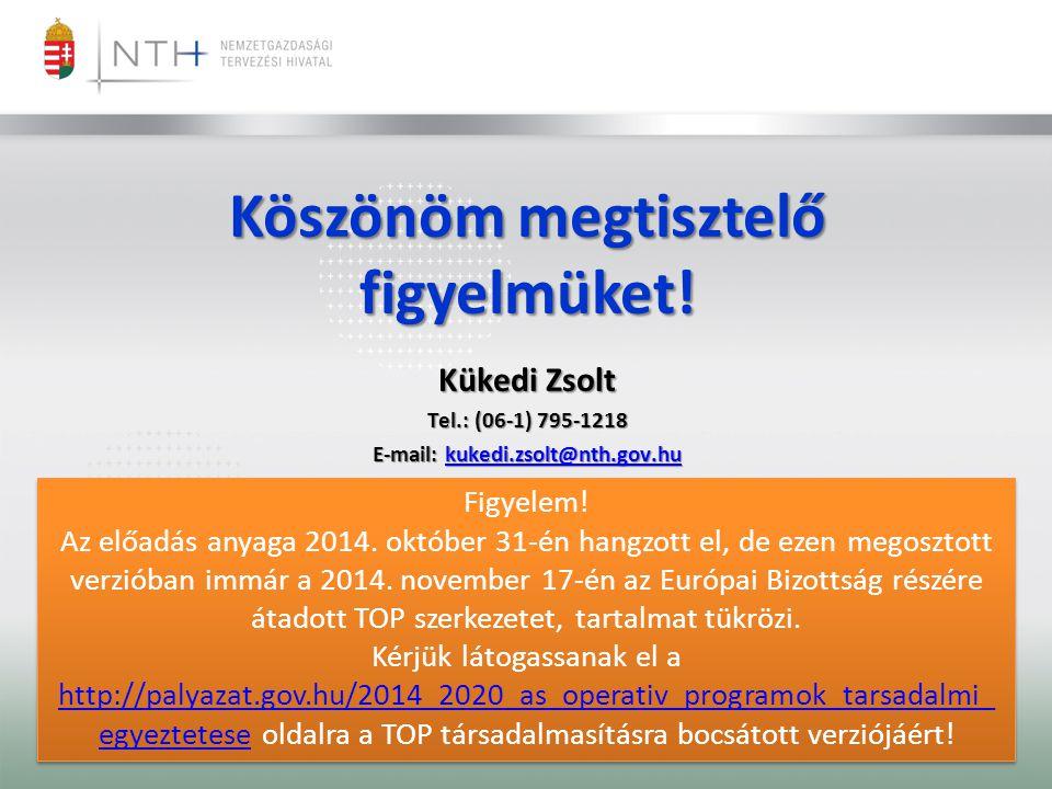 Köszönöm megtisztelő figyelmüket! E-mail: kukedi.zsolt@nth.gov.hu