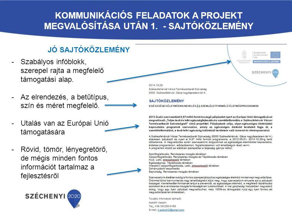 Kommunikációs feladatok a projekt megvalósítása után 1