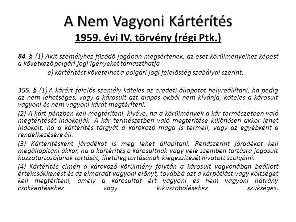 A Nem Vagyoni Kártérítés 1959. évi IV. törvény (régi Ptk.)