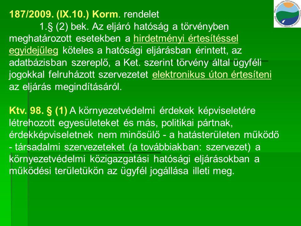 187/2009. (IX.10.) Korm. rendelet