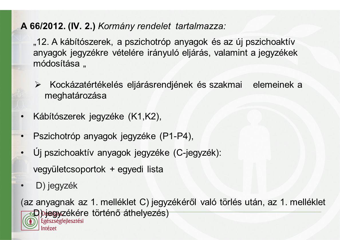 A 66/2012. (IV. 2.) Kormány rendelet tartalmazza: