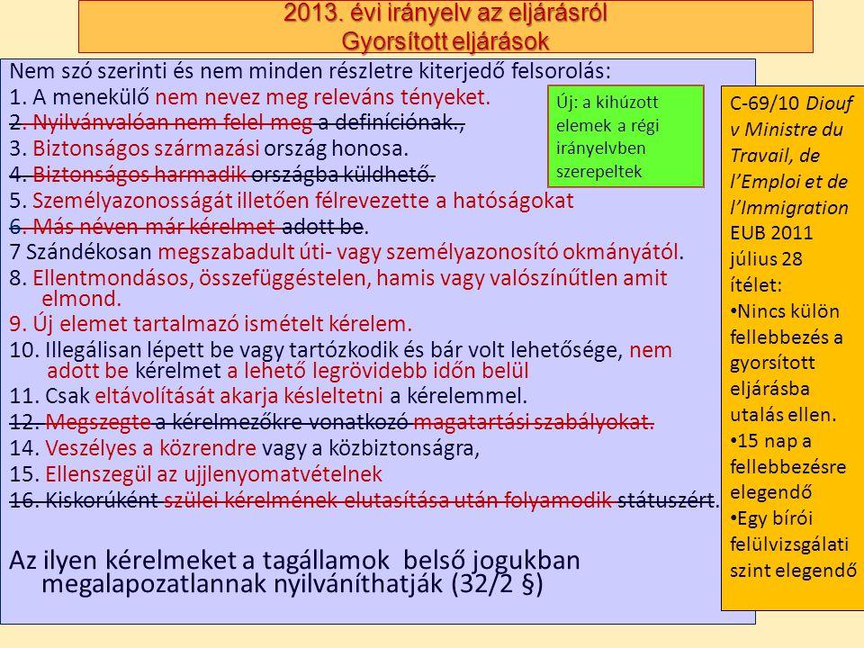 2013. évi irányelv az eljárásról Gyorsított eljárások