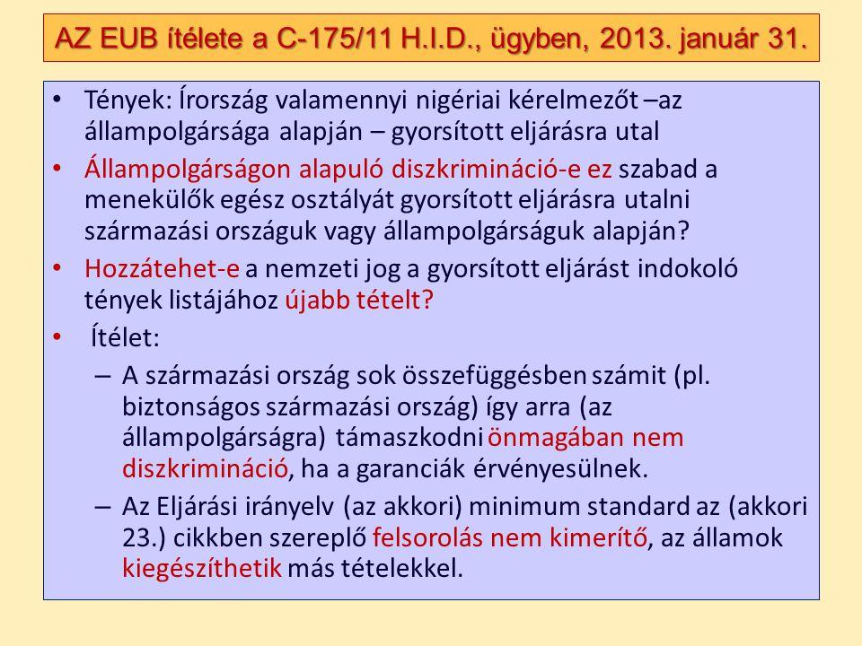 AZ EUB ítélete a C-175/11 H.I.D., ügyben, 2013. január 31.