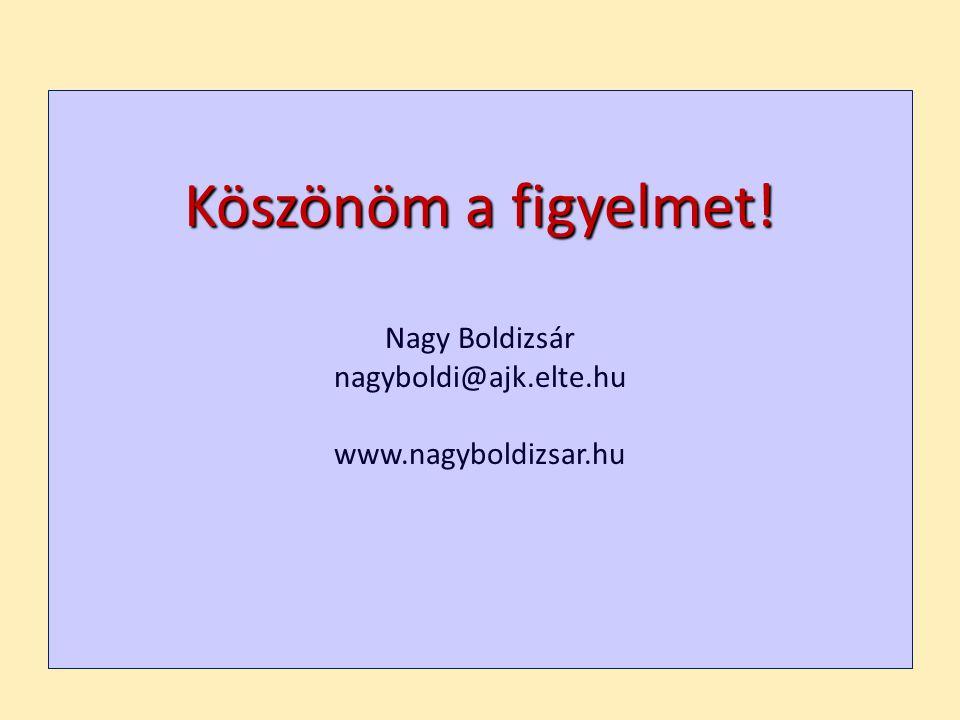 Köszönöm a figyelmet! Nagy Boldizsár nagyboldi@ajk.elte.hu