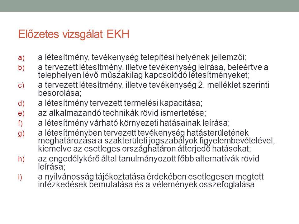 Előzetes vizsgálat EKH