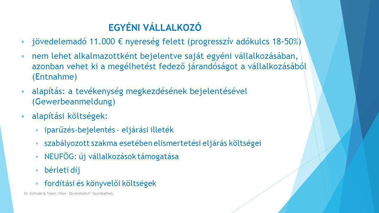 EGYÉNI VÁLLALKOZÓ jövedelemadó 11.000 € nyereség felett (progresszív adókulcs 18-50%)