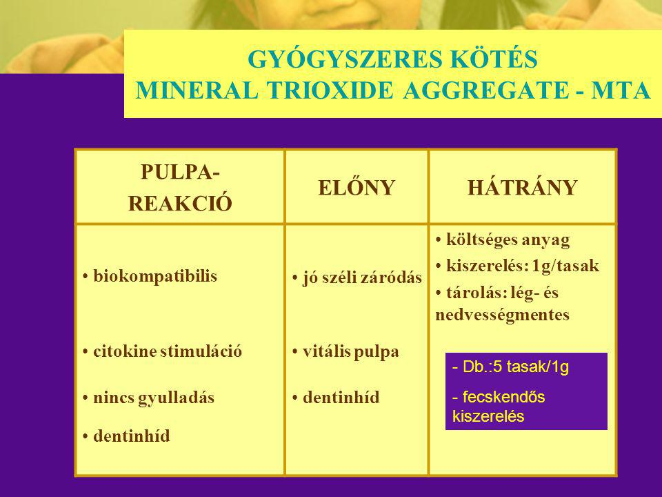 GYÓGYSZERES KÖTÉS MINERAL TRIOXIDE AGGREGATE - MTA