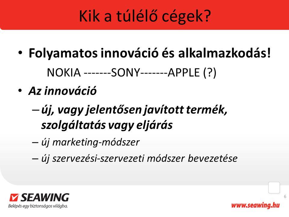 Kik a túlélő cégek Folyamatos innováció és alkalmazkodás!