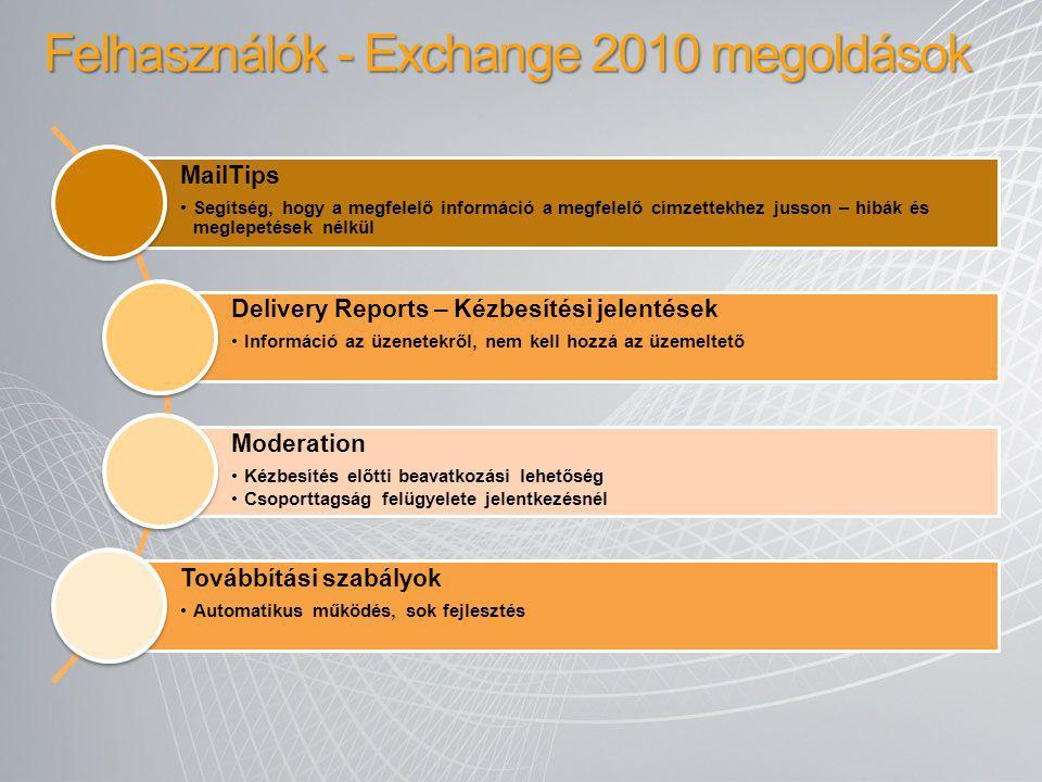 Felhasználók - Exchange 2010 megoldások