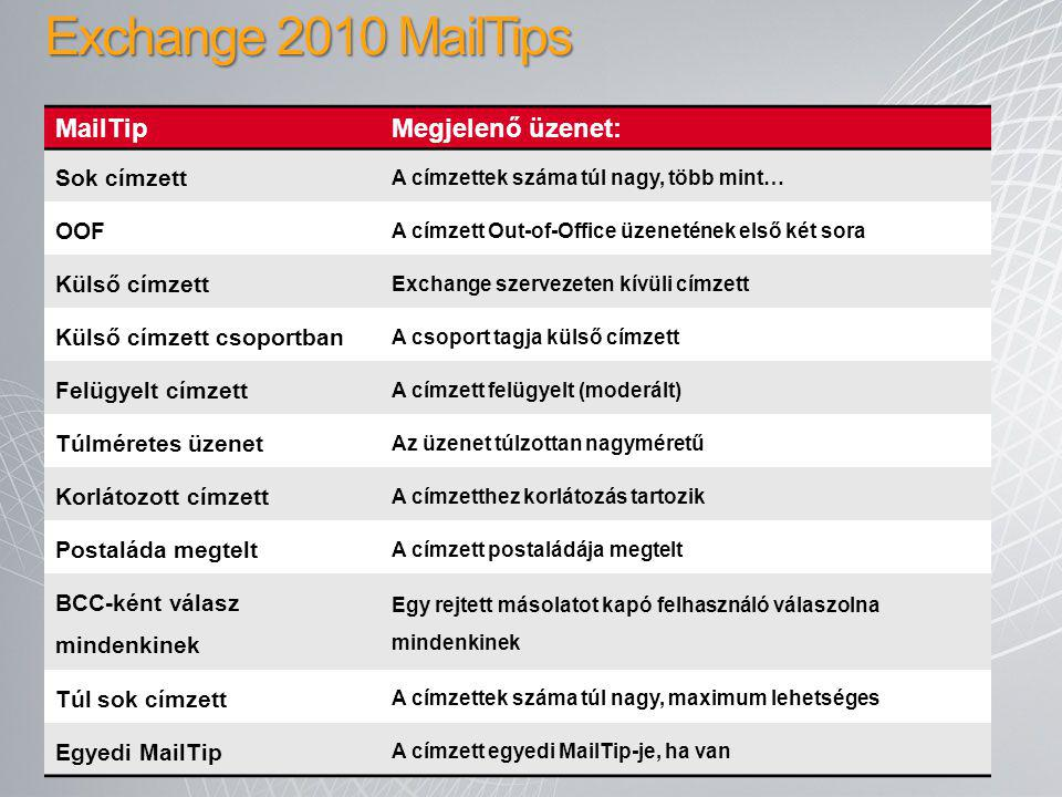 Exchange 2010 MailTips MailTip Megjelenő üzenet: Sok címzett OOF