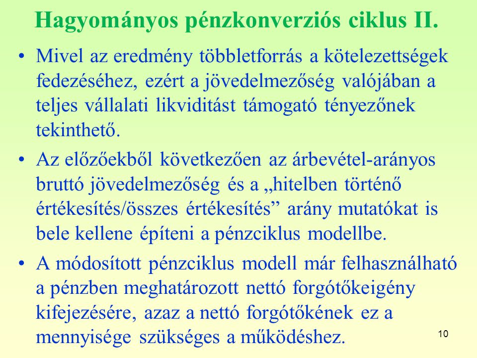 Hagyományos pénzkonverziós ciklus II.