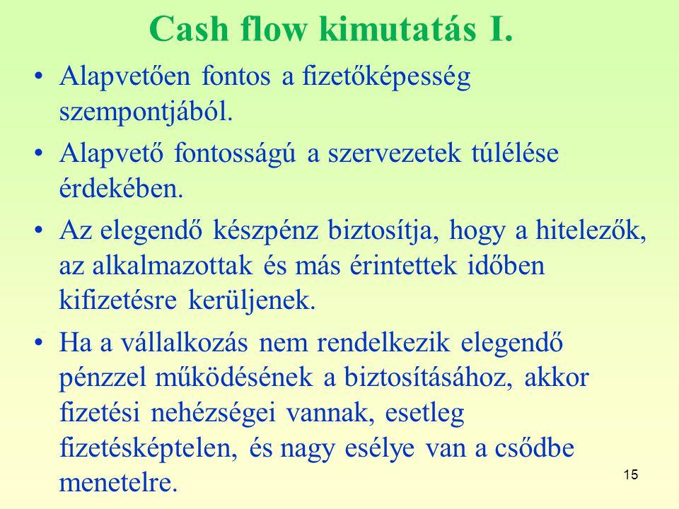 Cash flow kimutatás I. Alapvetően fontos a fizetőképesség szempontjából. Alapvető fontosságú a szervezetek túlélése érdekében.