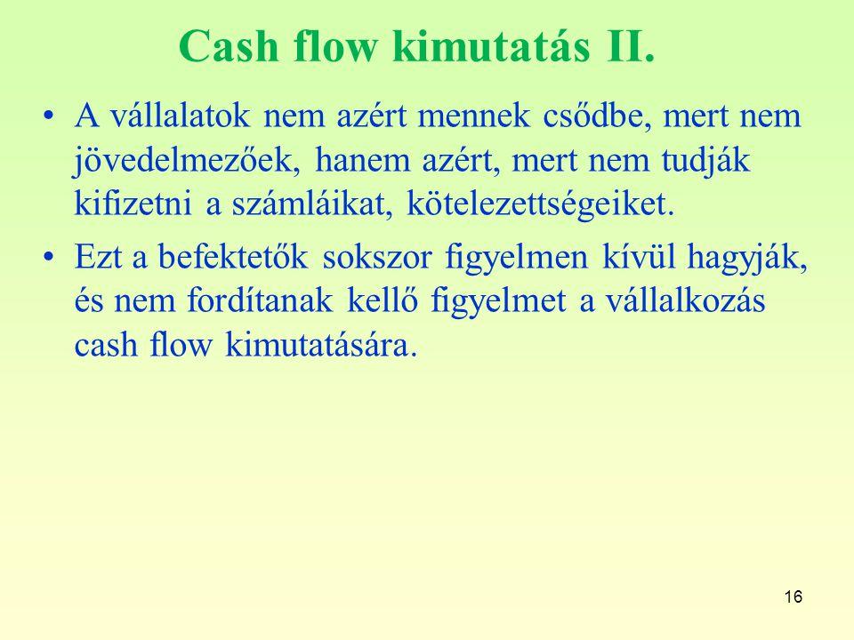 Cash flow kimutatás II.