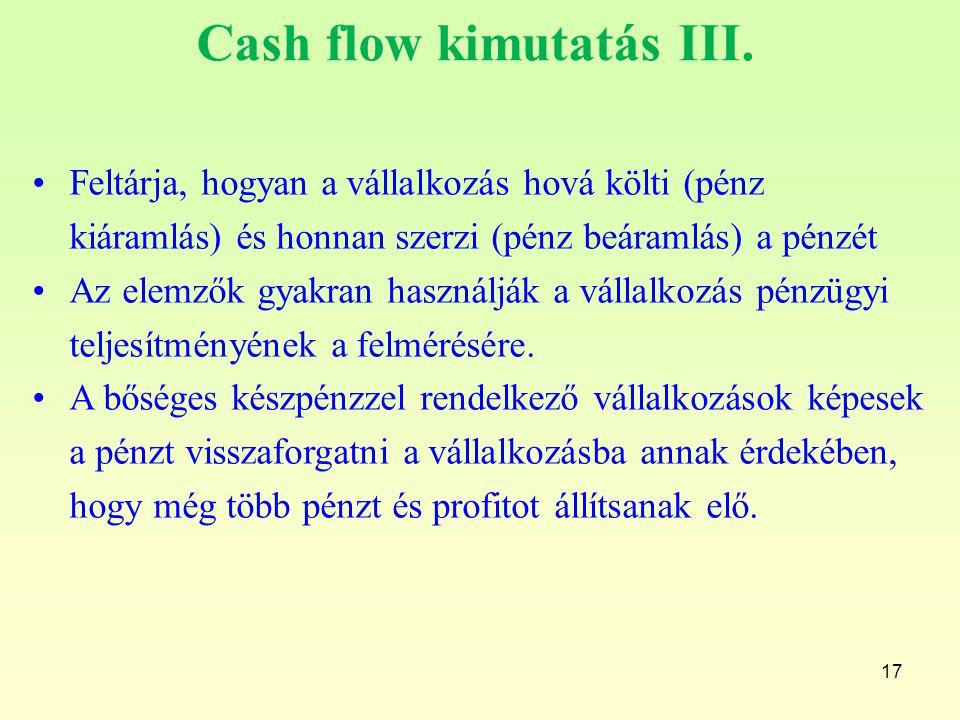 Cash flow kimutatás III.