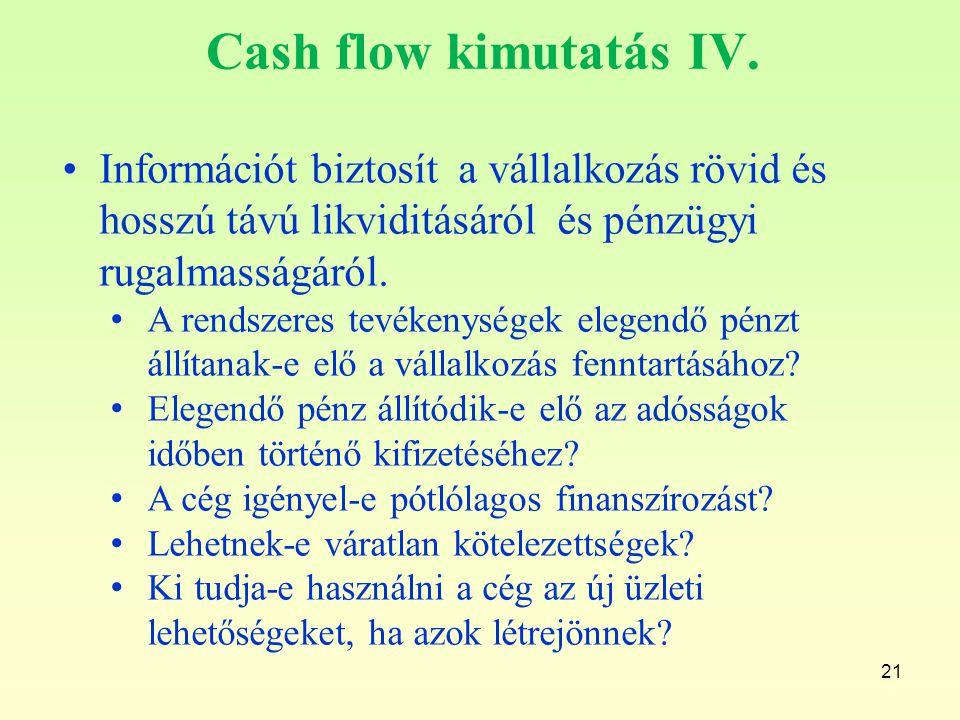 Cash flow kimutatás IV. Információt biztosít a vállalkozás rövid és hosszú távú likviditásáról és pénzügyi rugalmasságáról.