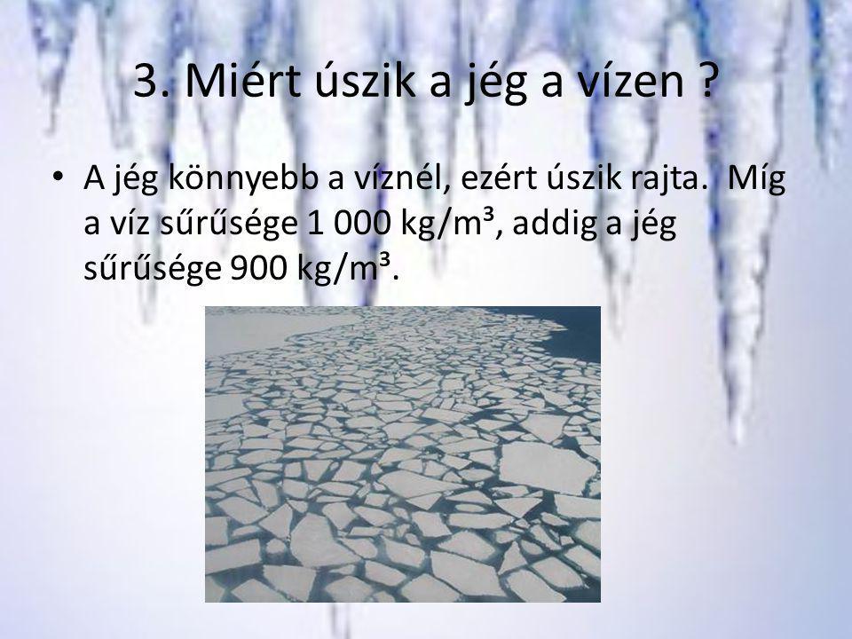 3. Miért úszik a jég a vízen