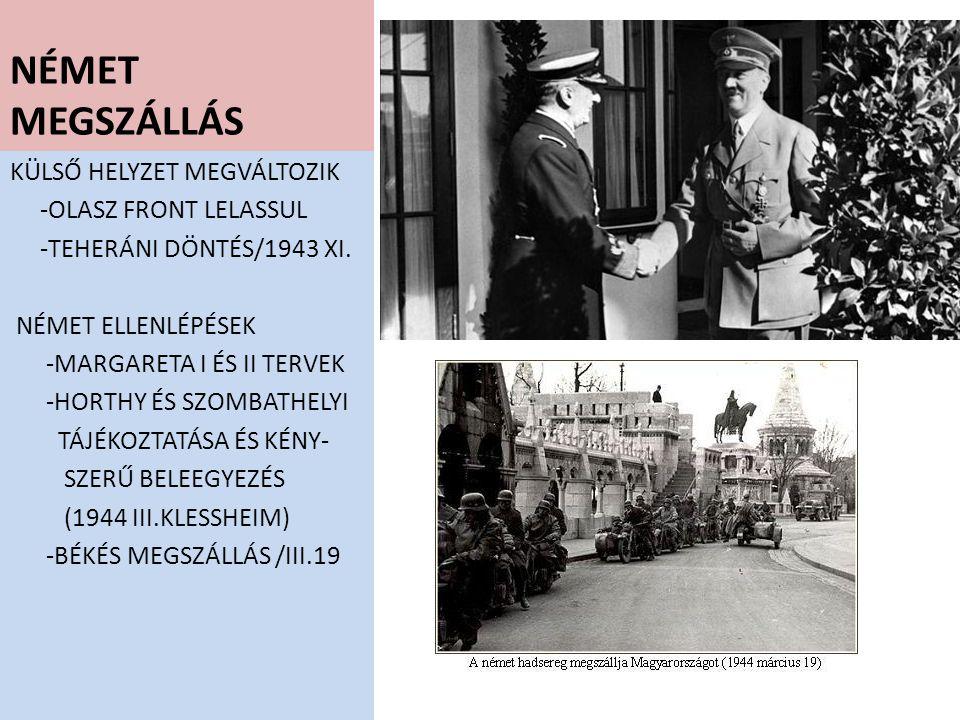 NÉMET MEGSZÁLLÁS KÜLSŐ HELYZET MEGVÁLTOZIK -OLASZ FRONT LELASSUL