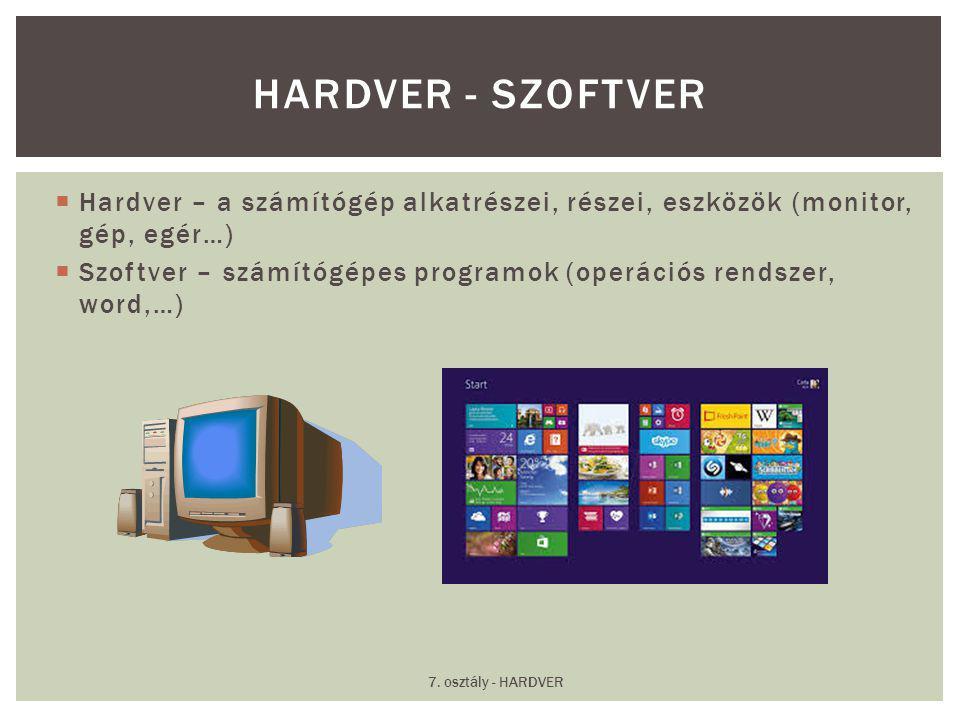 Hardver - Szoftver Hardver – a számítógép alkatrészei, részei, eszközök (monitor, gép, egér…)
