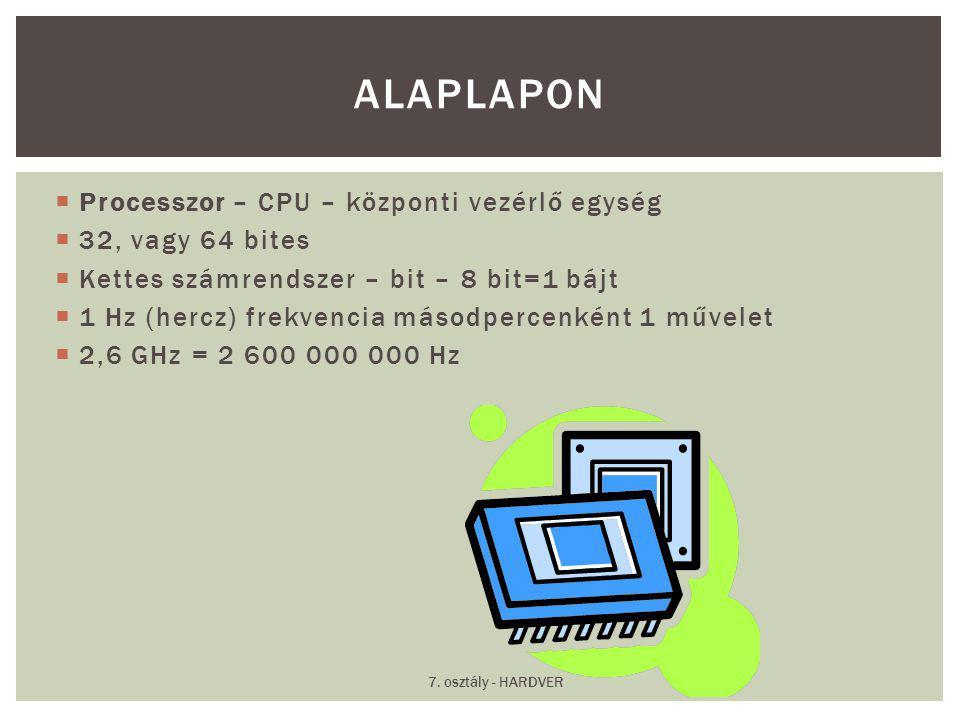 Alaplapon Processzor – CPU – központi vezérlő egység 32, vagy 64 bites
