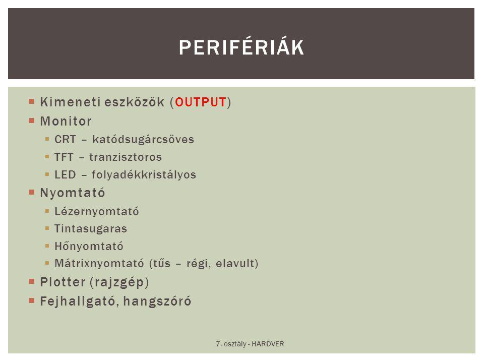 Perifériák Kimeneti eszközök (OUTPUT) Monitor Nyomtató