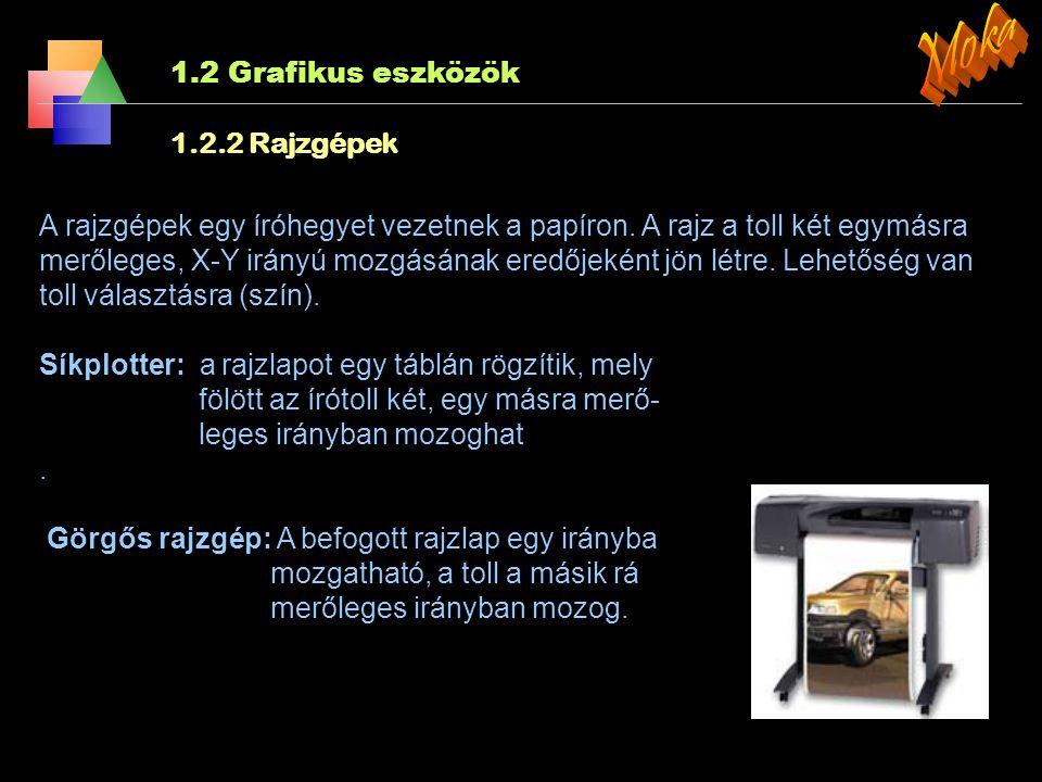 Moka 1.2 Grafikus eszközök 1.2.2 Rajzgépek