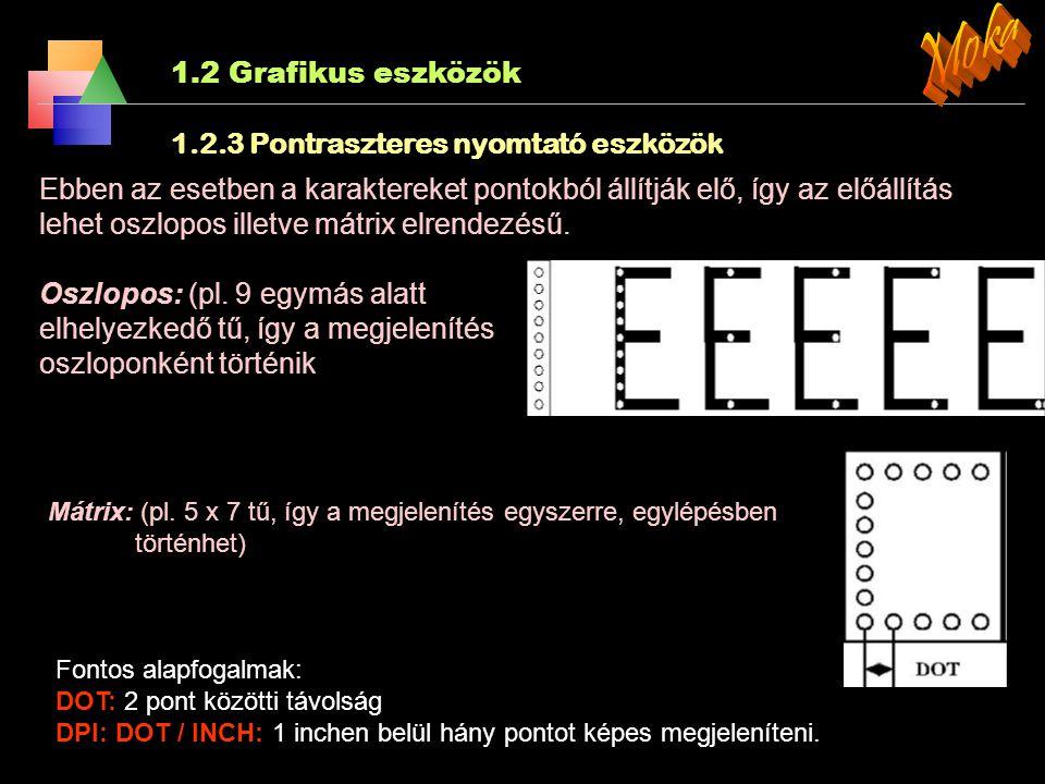 Moka 1.2 Grafikus eszközök 1.2.3 Pontraszteres nyomtató eszközök