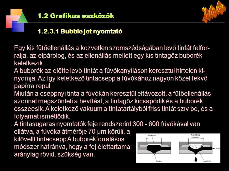 Moka 1.2 Grafikus eszközök 1.2.3.1 Bubble jet nyomtató