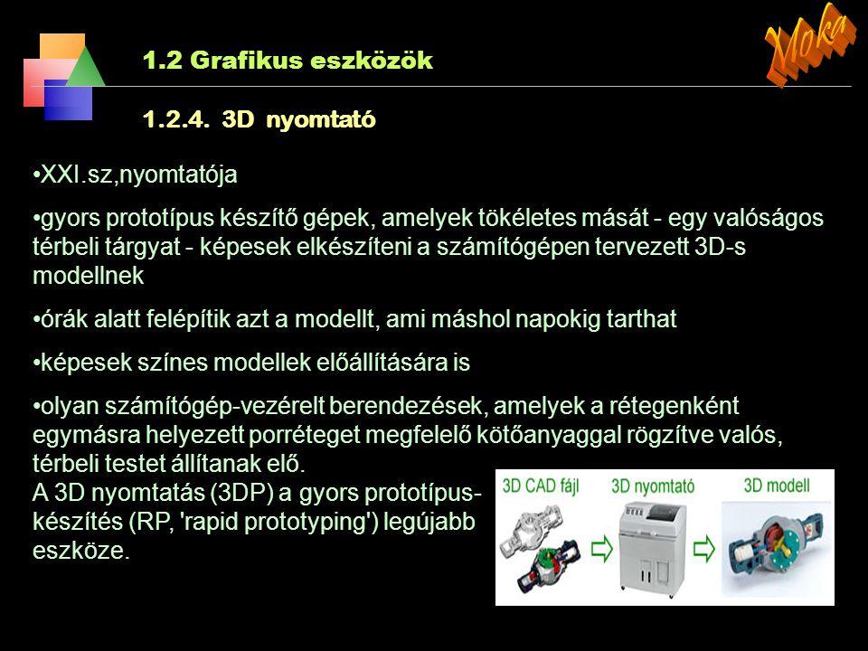 Moka 1.2 Grafikus eszközök 1.2.4. 3D nyomtató XXI.sz,nyomtatója