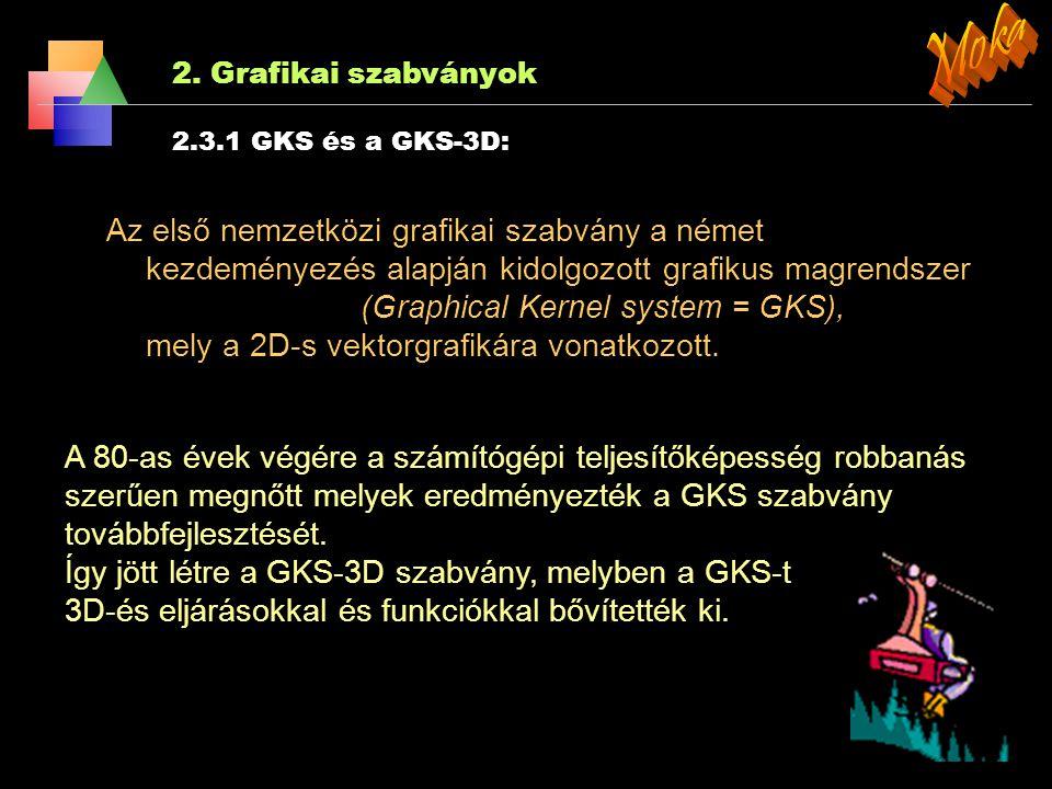 Moka 2. Grafikai szabványok. 2.3.1 GKS és a GKS-3D: