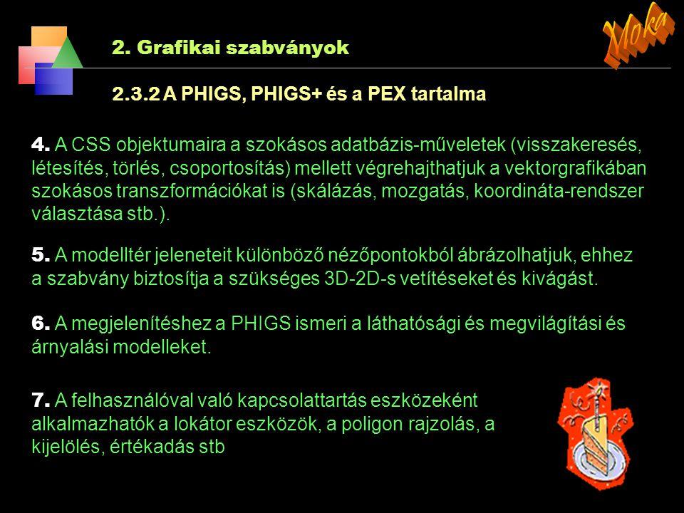 Moka 2. Grafikai szabványok 2.3.2 A PHIGS, PHIGS+ és a PEX tartalma