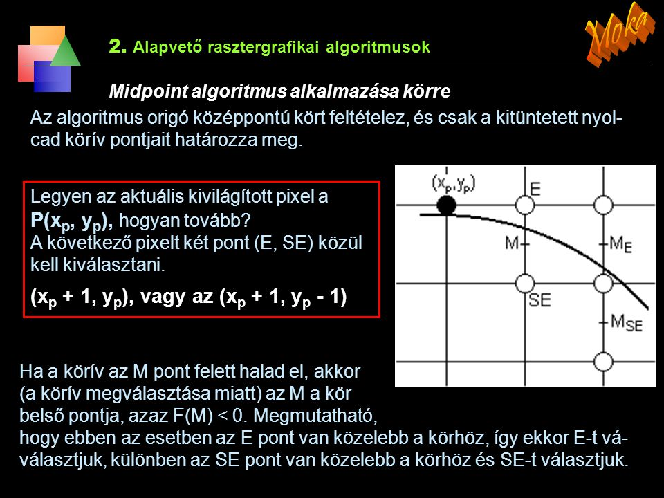 Moka (xp + 1, yp), vagy az (xp + 1, yp - 1)