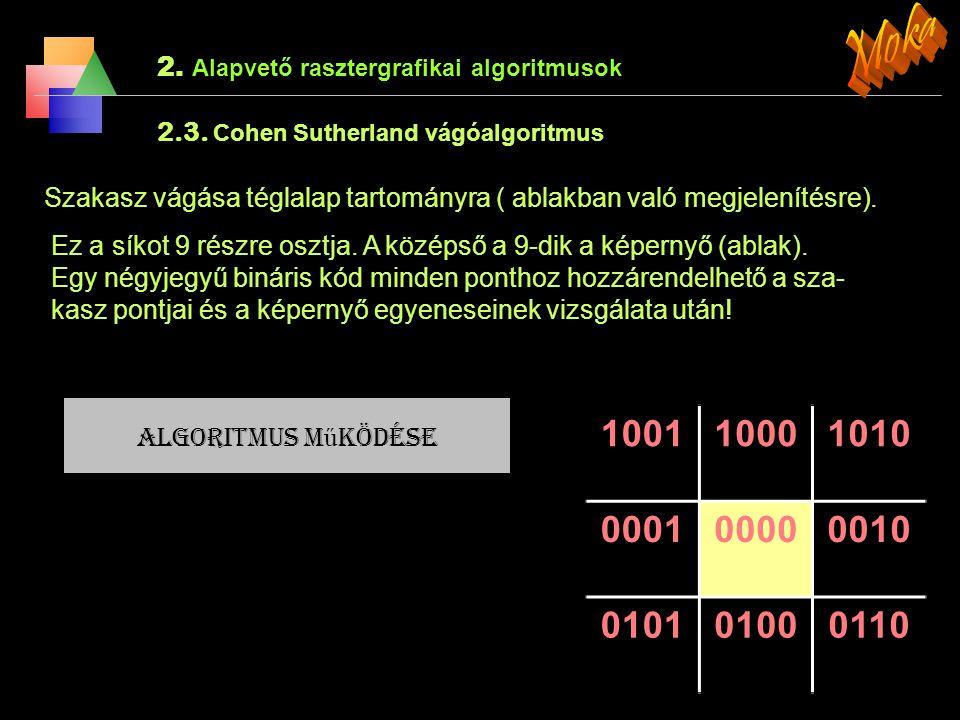 Moka 2. Alapvető rasztergrafikai algoritmusok. 2.3. Cohen Sutherland vágóalgoritmus.