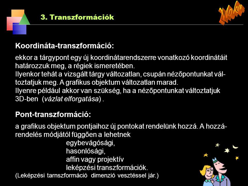Moka Koordináta-transzformáció: Pont-transzformáció: