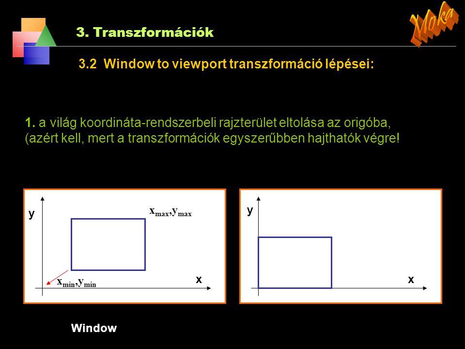 Moka 3. Transzformációk 3.2 Window to viewport transzformáció lépései: