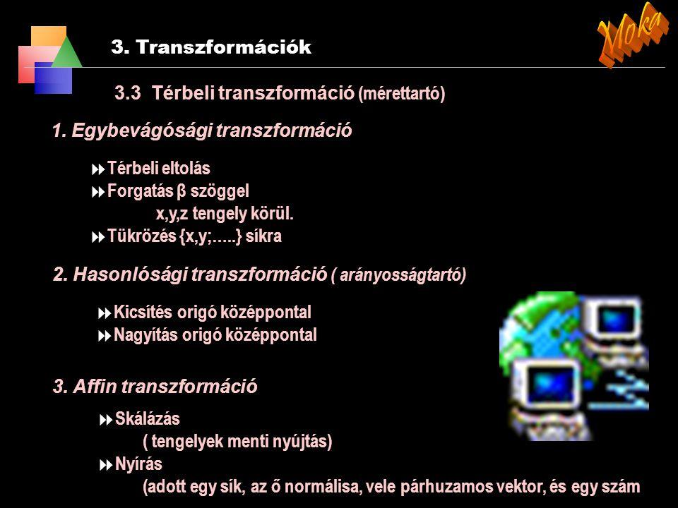 Moka 3. Transzformációk 3.3 Térbeli transzformáció (mérettartó)