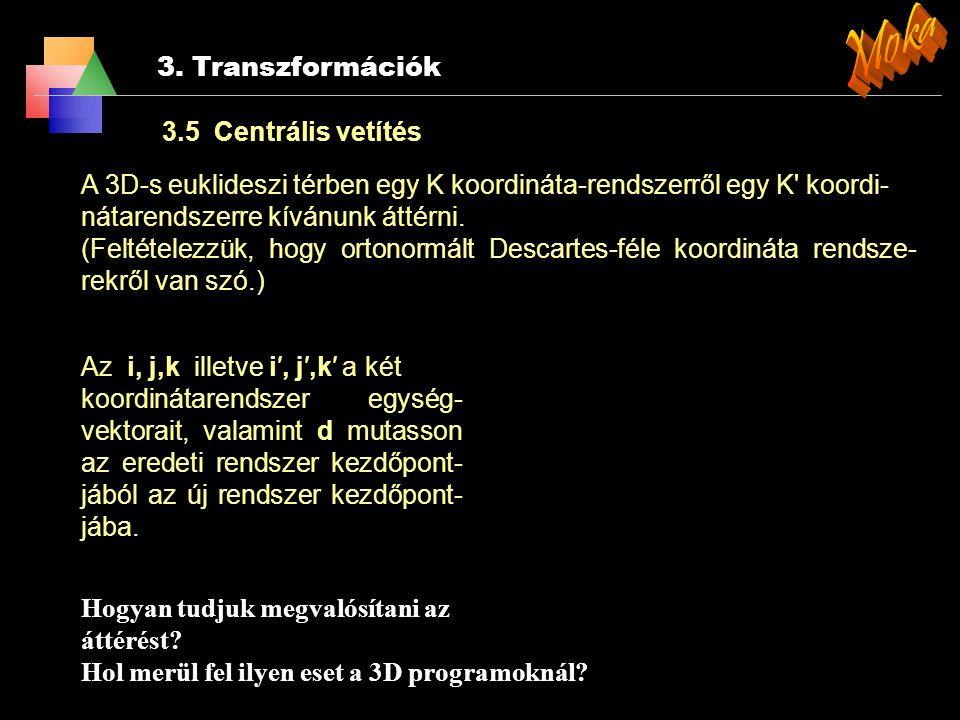 Moka 3. Transzformációk 3.5 Centrális vetítés