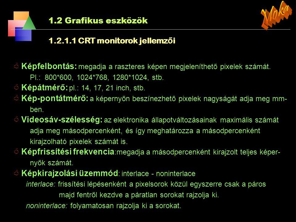 Moka 1.2 Grafikus eszközök 1.2.1.1 CRT monitorok jellemzői